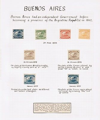 Buenos Aires stamps (reprints) on album page