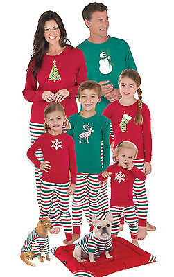 US STOCK Family Christmas Pajamas Set Women Men Kids Deer Sleepwear Nightwear