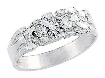 Men Women Sterling Silver Rhodium Plated Machine Cut Band Nugget Ring 15mm