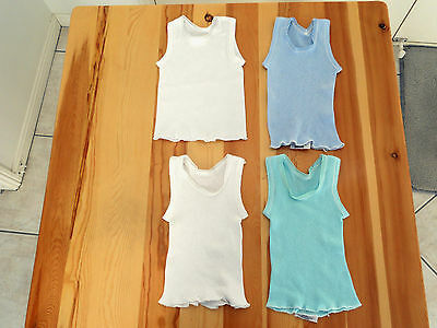 4 baby boy boys singlets size 00 2 white 1 blue 1 aqua; 3 are Bonds Cotton VGC