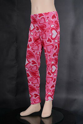 Girls Pink White Red Heart Leggings, Girl's Active Ballet Dance Gym Yoga Wear