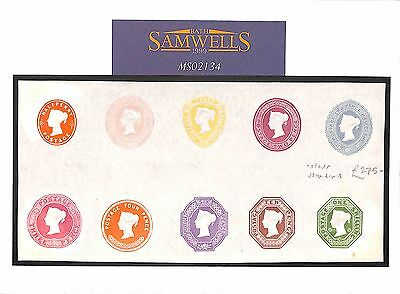 MS2134* Great Britain Postal Stationery 1890s QV *COLOUR STANDARD* Proof Set{10}