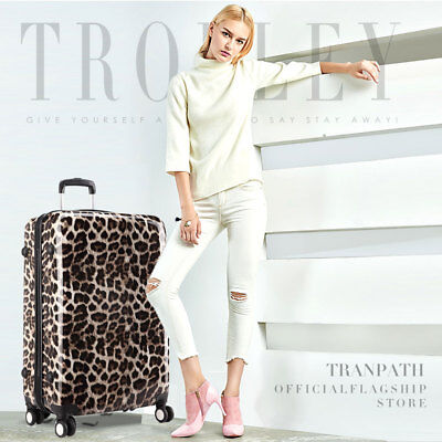 KONO Leopard Hardshell Cabin Suitcase 4 Wheel Luggage Hand Trolley Case
