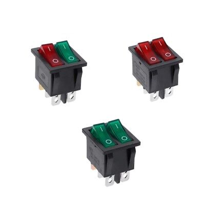 Dual Boat Rocker Switch 6 Pin On-Off With Green Red Light 20A 125V AC 1PC