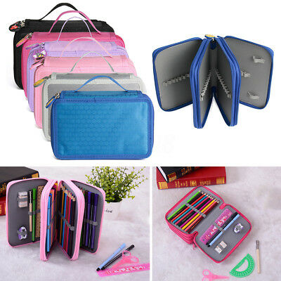 High Capacity Holder Stationary Pouch Pencil Case Makeup Pen Box Storage Bag UK