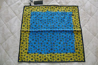 """Hand made Macclesfield silk square 16"""" hand rolled blue yellow chess set design"""