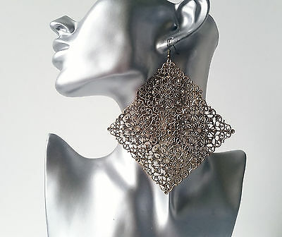Gorgeous 12cm long HUGE antique - vintage bronze tone filigree rhombus earrings