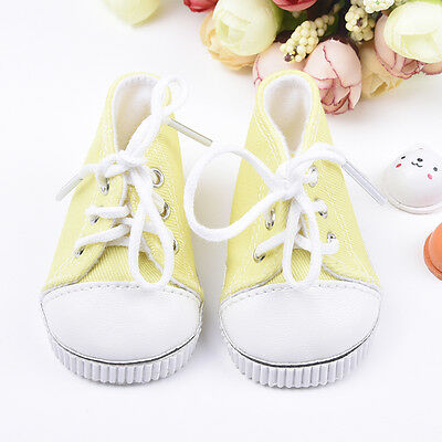 For 18 Inch Toy Doll Yellow Canvas Shoes Handmade Baby Toy PU.