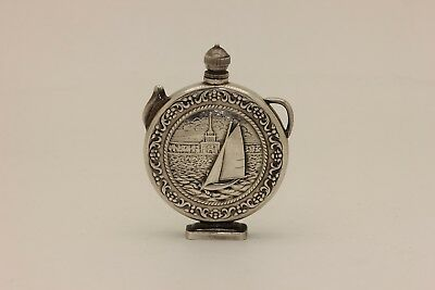 Antique Original Silver Ship Decorated Amazing Russian Very Small Pitcher