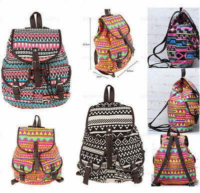 Women Girls Canvas Backpack Travel Bag Satchel Rucksack Shoulder School Bag