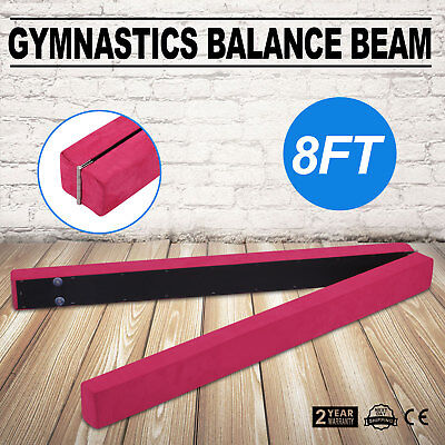 Pink Suede 8FT Gymnastics Folding Balance Beam Suede Leather Gym Training Home