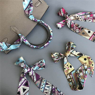 Fashion Pretty Women Tie Scarves Silk Ribbon Twilly Handle Decoration For Bag