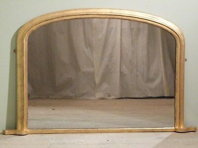 English Antique Gilt Overmantle Mirror Dated 1887 Overmantel