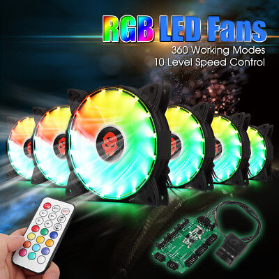 6PCS RGB Adjustable LED Cooling Fan 120mm+Controller Remote For Computer PC New