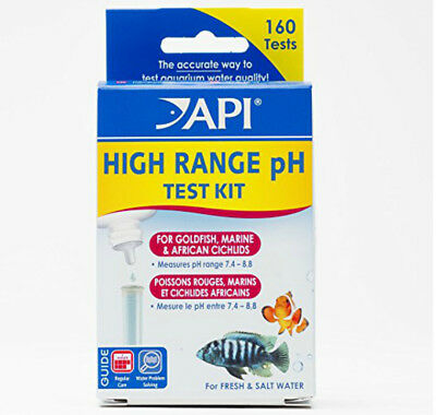 *API* HIGH RANGE pH TEST KIT FOR GOLDFISH,MARINE AND AFRICAN CICHLIDS 160TESTS