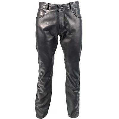 Richa Classic Leather Crusier Custom Moto Motorcycle Trousers Black All Sizes