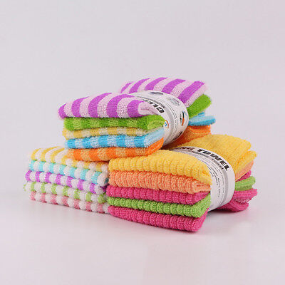 5pcs Pack Set Microfiber Tea Kitchen Dish Towels Cleaning Cloths Water Absorbed