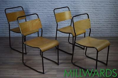 Set Of 4 Vintage Brown Frame Industrial Stacking Cafe Bar Kitchen Dining Chairs