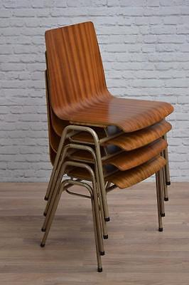 Set Of 4 Vintage Industrial Stacking Teak Remploy Cafe Bar Dining Chairs