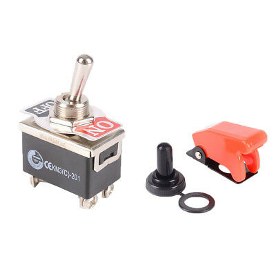 DPST 4 Terminals On Off Toggle Switch With Waterproof Cover Cap for Auto Car