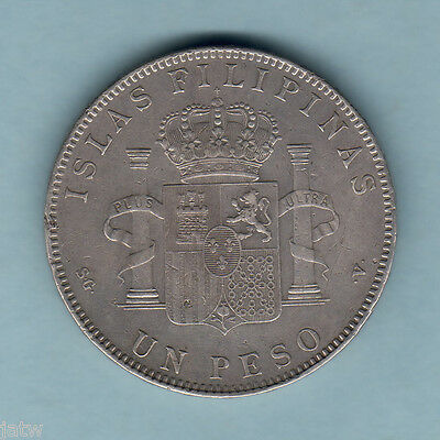 Philippines. 1897-SGV One Peso..  Part Lustre..   gVF