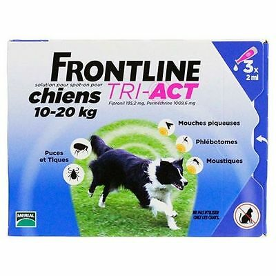 Frontline Tri-Act Spot-on Chiens 10-20 kg 6 Pipettes ( 2 x 3 pipettes)
