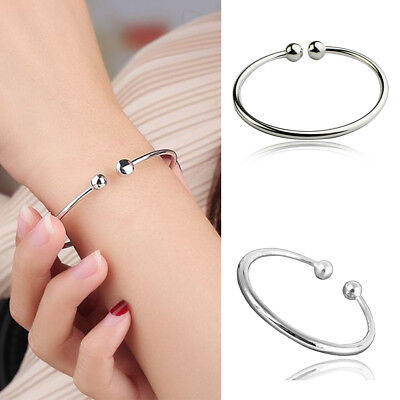 925 Sterling Silver Bangle Bracelet Beads Ladies Womens Jewellery Gift UK