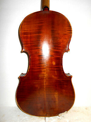 "Antique Old Vintage ""Guarnerius"" 2 Pc. Curly Maple Back Full Size Violin"