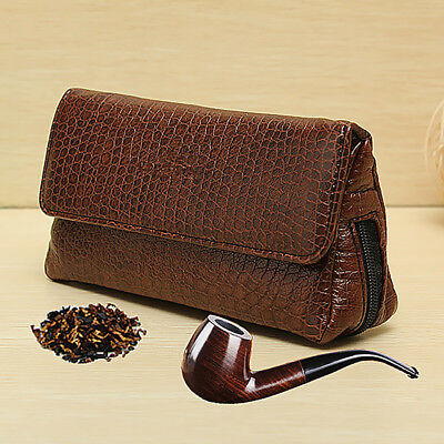 Soft Leather Smoking Pipe Case Pouch Tobacco Bag Tamper Filter Tool Cleaner New