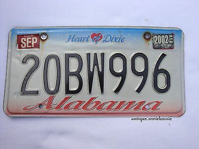 2002 ALABAMA COLBERT COUNTY Vintage License Plate # 20BW996
