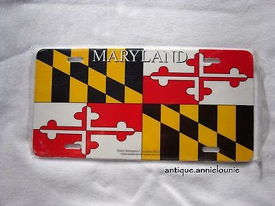 Unused MARYLAND STATE FLAG Vintage Vanity Plastic License Plate