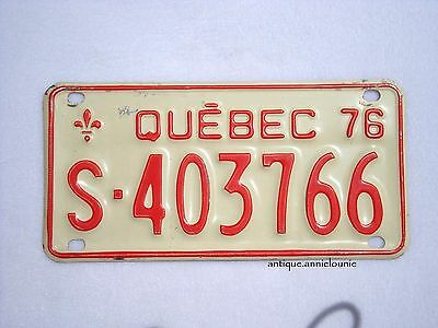 1976 QUEBEC Snowmobile SKI-DOO Vintage License Plate # S-403766