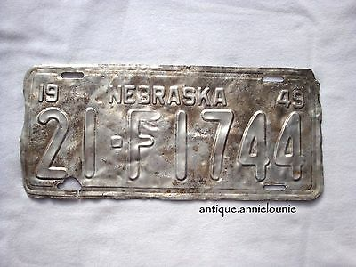 1949 NEBRASKA SCOTTS BLUFF COUNTY Vintage License Plate # 21-F1744