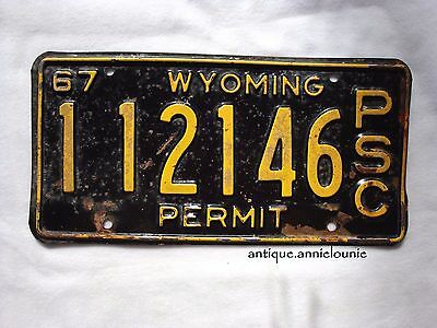 1967 WYOMING NATRONA COUNTY (1) Vintage License Plate PSC PERMIT # 12146