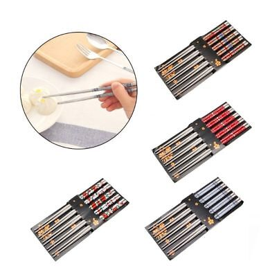 5 Pairs Metal Stainless Steel Printed Chopsticks Chop Sticks Kitchen Tool Home