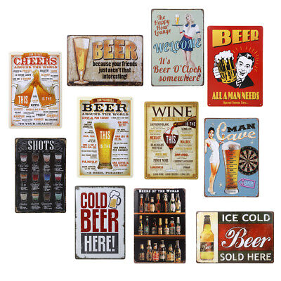 Retro Vintage Tin Sign Metal Poster Plaque Tavern Bar Pub Club Wall Home Decor