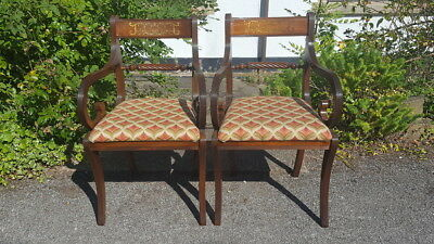 A Very Pretty Pair of Antique Style Vintage Carver Armchairs with Stylish Fabric