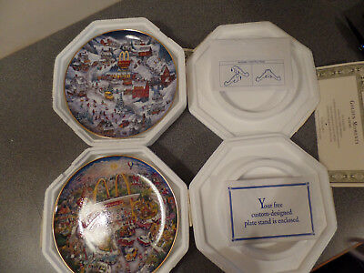 2  McDonald's Franklin Mint Plates, Never Displayed - Golden Moments & Country