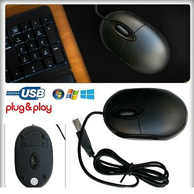 Wired USB Optical Scroll Wheel LED Mouse For PC Computer Laptop Notebook Black