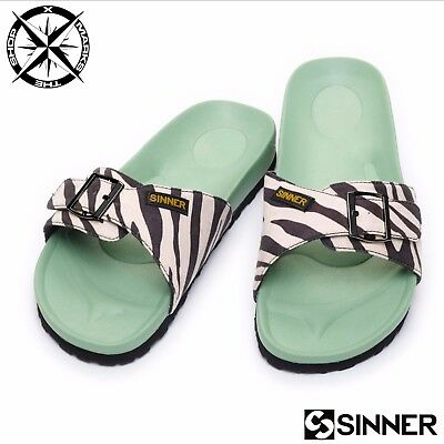 62d2f4f90a6 Sinner  lovers Beach  Womens Sandals Uk 5 Euro 38 Green Zebra Flip Flops  Bnwt