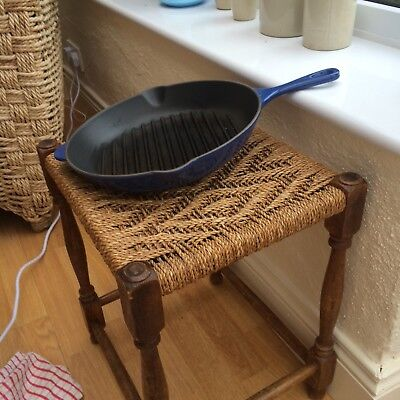 LE CREUSET BLUE GRIDDLE FRYING PAN 26 cm VERY GOOD CONDITION MADE IN FRANCE