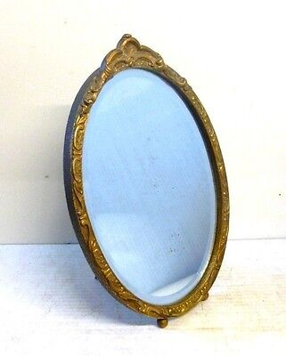 Antique Bevelled Glass Gilt Framed Free Standing Oval Vanity Mirror