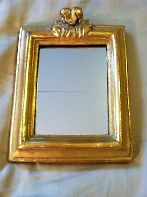 """Vintage BORGHESE Ornate Wall Mirror Italian Gold Look Gilded 5 3/4"""" x 8"""""""