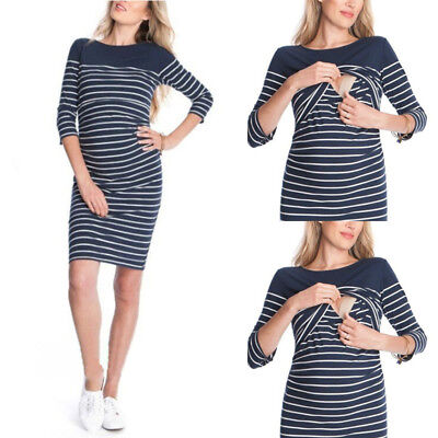 Pregnant Womens Striped breast-feeding Casual Evening Party Short Mini Dress new