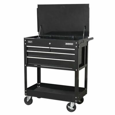 Sealey Heavy-Duty Mobile Tool & Parts Trolley 4 Drawers & Lockable Top - Black