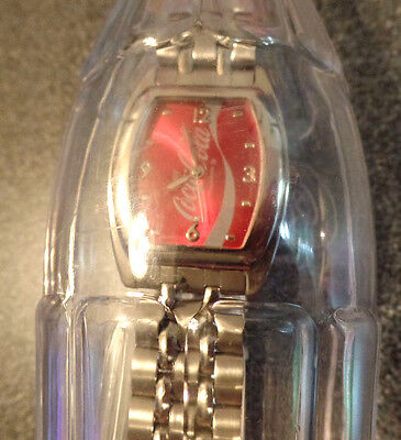 Ladies Coke Watch with Metal Band, Still Sealed in Orig. Plastic Bottle - New