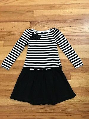 Baby Gap Girls Size 5T Black And White Striped Dress With Bows Black Skirt