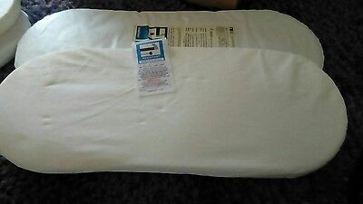 2  moses basket mattresses - sizes are. 720x265   780x 320.  740x 280mm