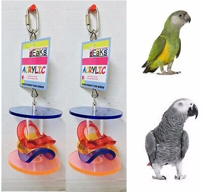 2 Pack Beaks Acrylic Hanging Parrot Toys Ladders & Barrels African Grey Senegal