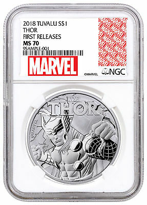 2018 Tuvalu Thor 1 oz Silver Marvel Series $1 NGC MS70 FR Excl Label SKU49365